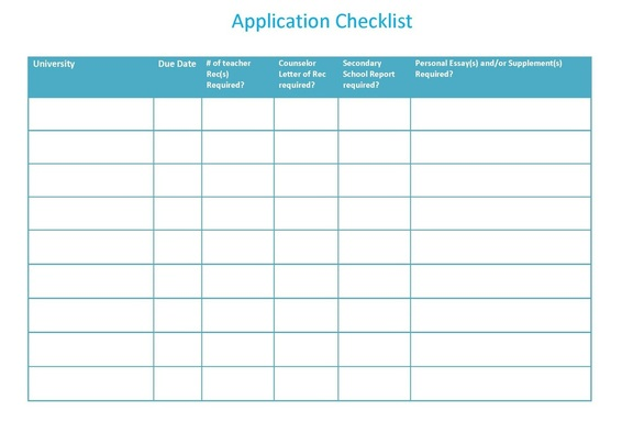 use the application checklist to help you keep track of due dates and requirements for each application click on the image to open a fill able copy
